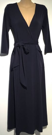 ASOS NAVY BLUE WRAP MIDI DRESS SIZE UK 10